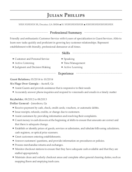 Guest Relations resume template Georgia