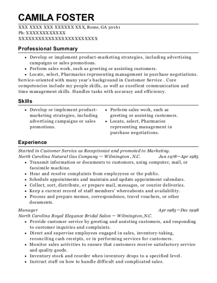 Started in Customer Service as Receptionist and promoted to Marketing resume sample Georgia