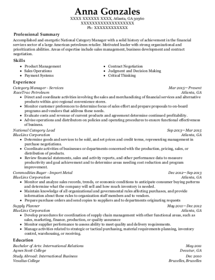 T Mobile Category Manager Resume Sample