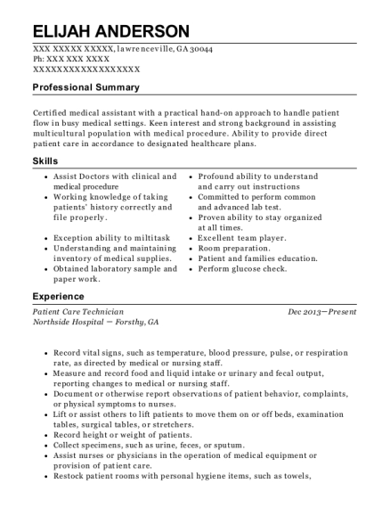Patient Care Technician resume format Georgia