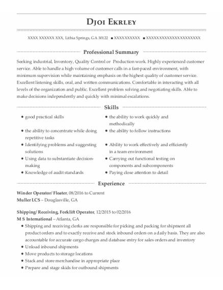 Winder Operator resume template Georgia