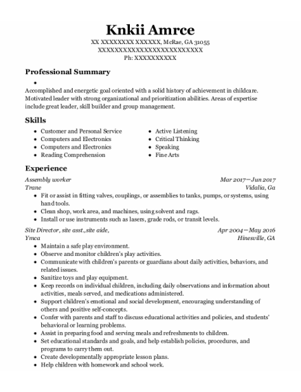 Assembly Worker resume sample Georgia