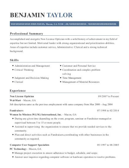 Non License Optician resume sample Georgia