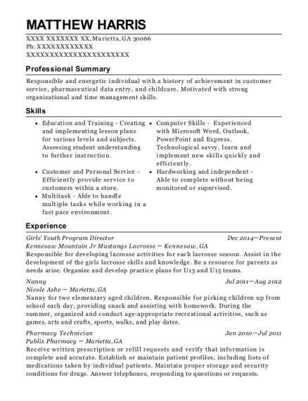 Girls Youth Program Director resume example Georgia