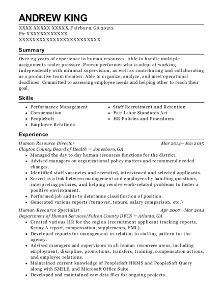 Human Resource Director resume template Georgia