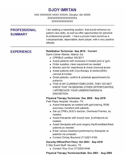 Physical Therapy Technician resume template Georgia