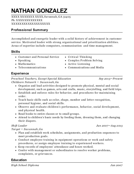 Preschool Teachers resume sample Georgia