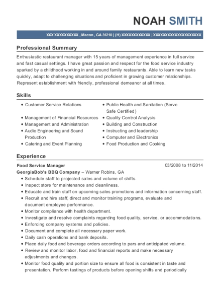 Food Service Manager resume format Georgia