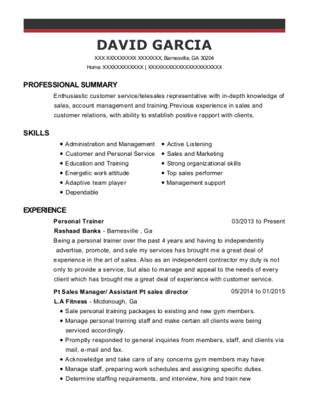 Personal Trainer resume template Georgia