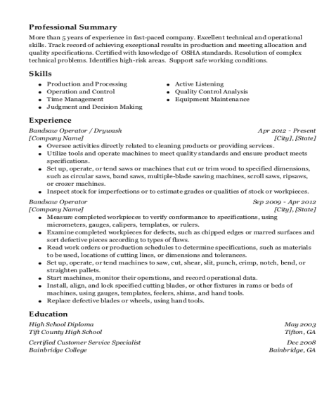 Bandsaw Operator resume sample Georgia