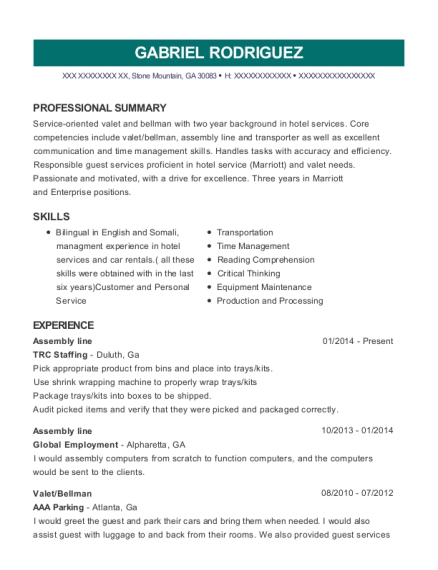 Assembly line resume example Georgia