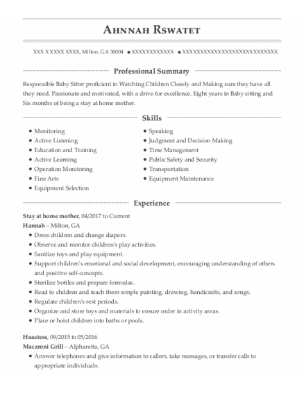 Stay At Home Mother resume template Georgia
