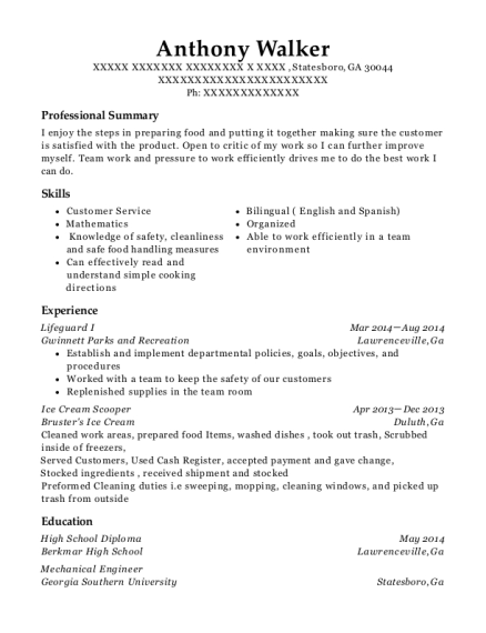 Lifeguard I resume example Georgia