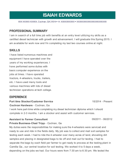 Part time Stocker resume format Georgia
