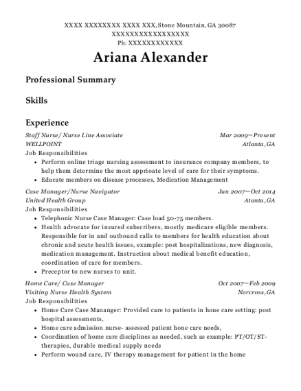Staff Nurse resume template Georgia
