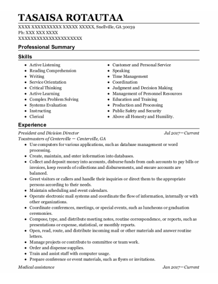 Medical Assistance resume template Georgia