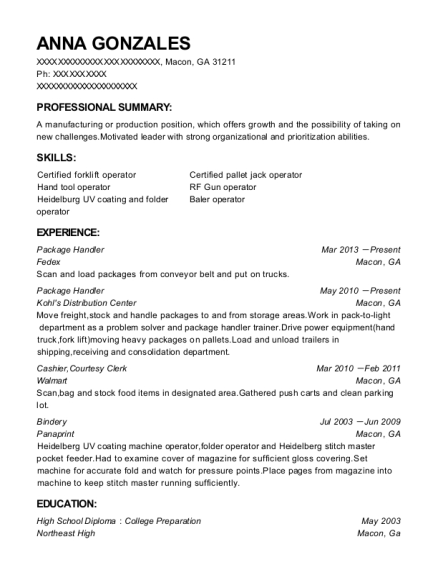 Package Handler resume template Georgia
