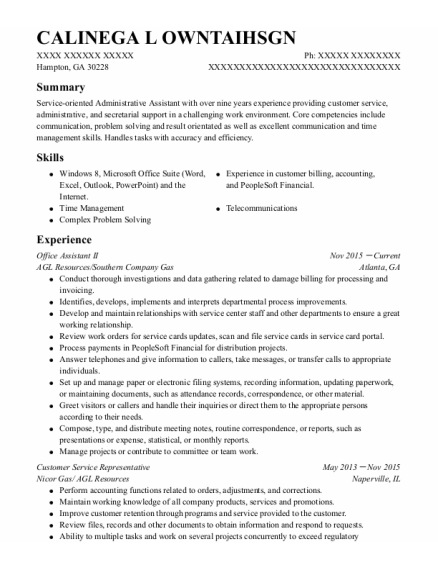 Office Assistant Ii resume example Georgia