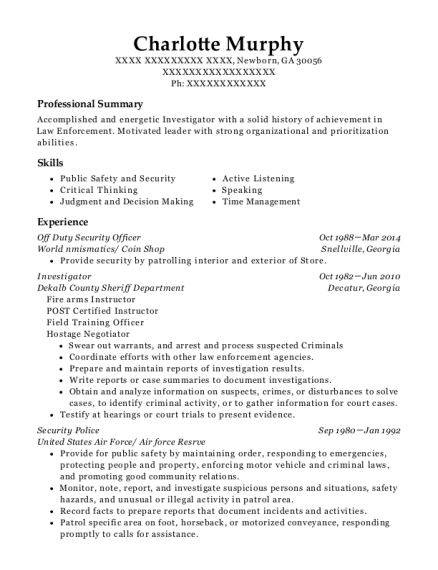 Off Duty Security Officer resume template Georgia