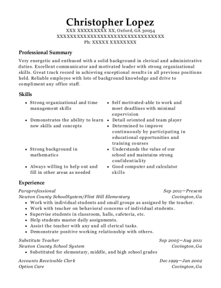 Paraprofessional resume sample Georgia