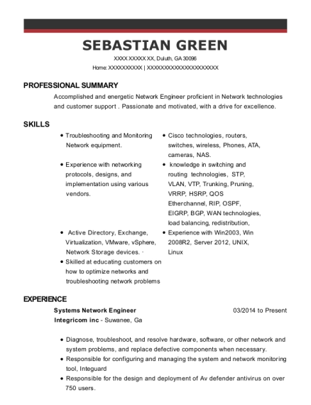 Systems Network Engineer resume format Georgia