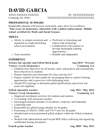 Science lab specials and Gifted third grade resume example Georgia