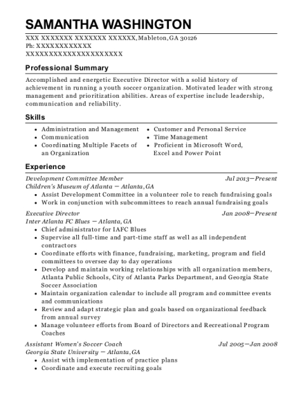 Development Committee Member resume example Georgia