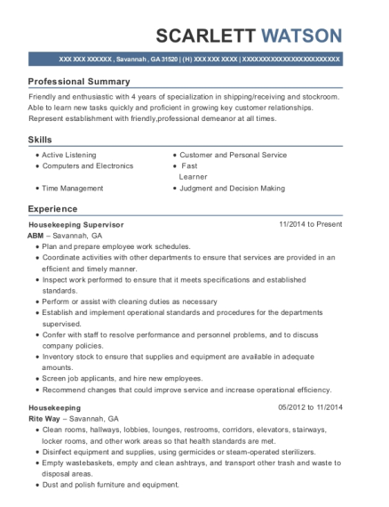 Housekeeping Supervisor resume format Georgia