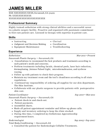 Esthetician resume sample Georgia