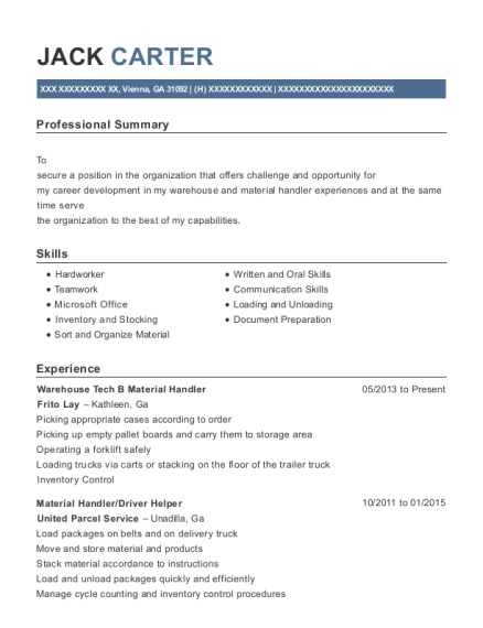 Warehouse Tech B Material Handler resume sample Georgia