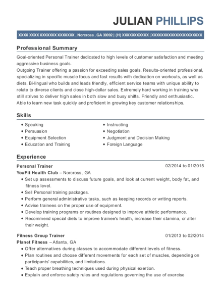Personal Trainer resume sample Georgia