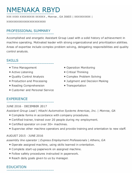 Assembly Line Operator resume sample Georgia