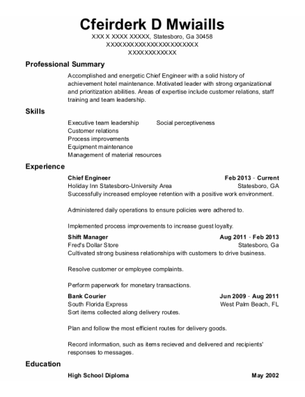 Chief Engineer resume template Georgia