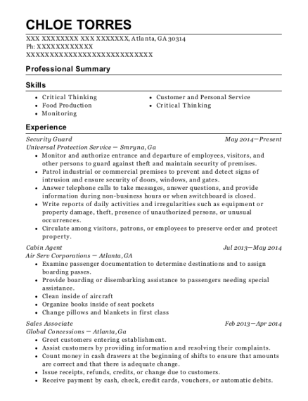 Security Guard resume sample Georgia