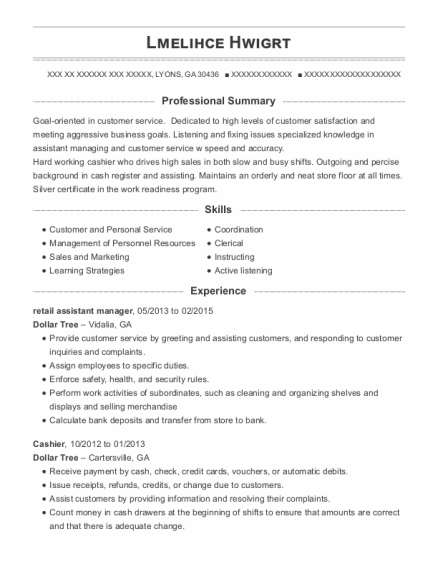 retail assistant manager resume example Georgia