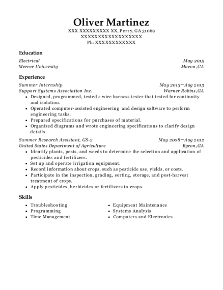 Summer Internship resume example Georgia