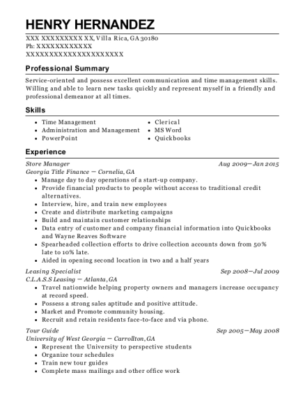 Store Manager resume format Georgia