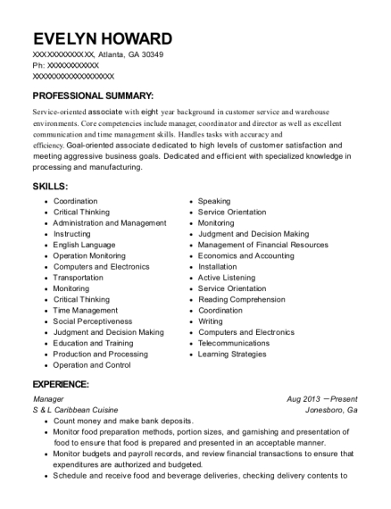 Manager resume template Georgia
