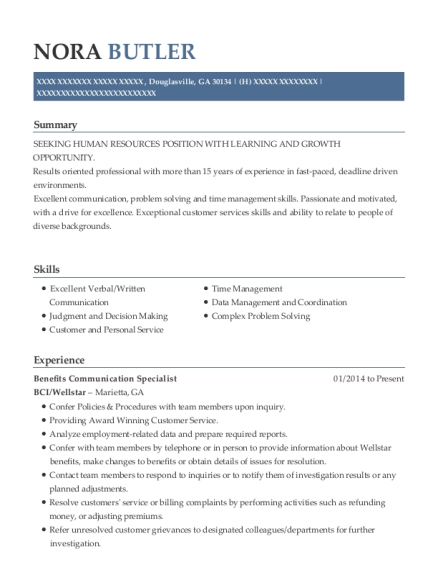 Benefits Communication Specialist resume example Georgia