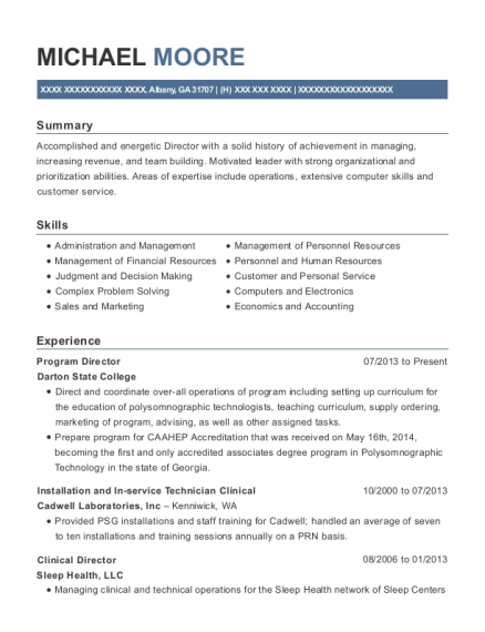 Program Director resume format Georgia