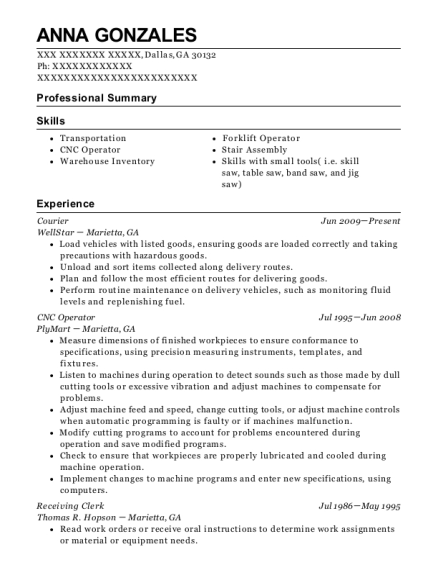 Courier resume format Georgia