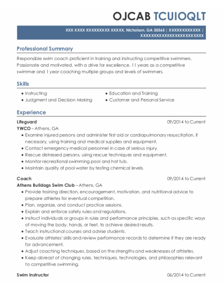 Lifeguard resume example Georgia