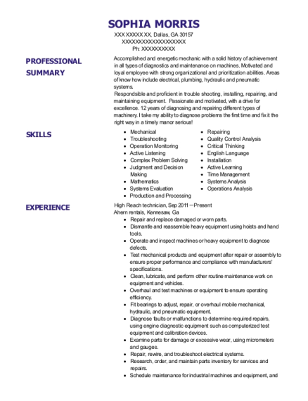 High Reach technician resume template Georgia