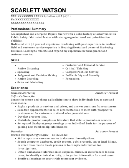Network Marketing resume sample Georgia