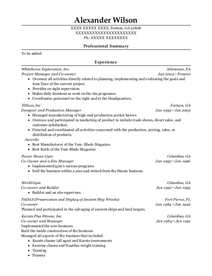 Project Manager and Co owner resume sample Georgia