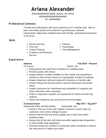 Hostess resume format Georgia