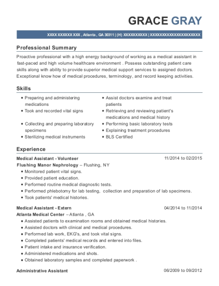 Medical Assistant Volunteer resume example Georgia