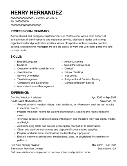 Certified Medical Assistant resume example Georgia