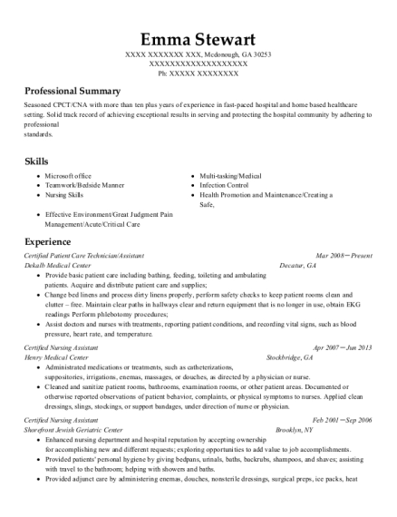 Certified Patient Care Technician resume sample Georgia