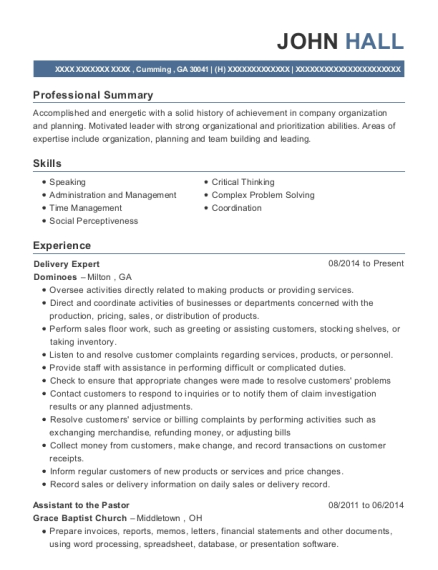 Delivery Expert resume sample Georgia